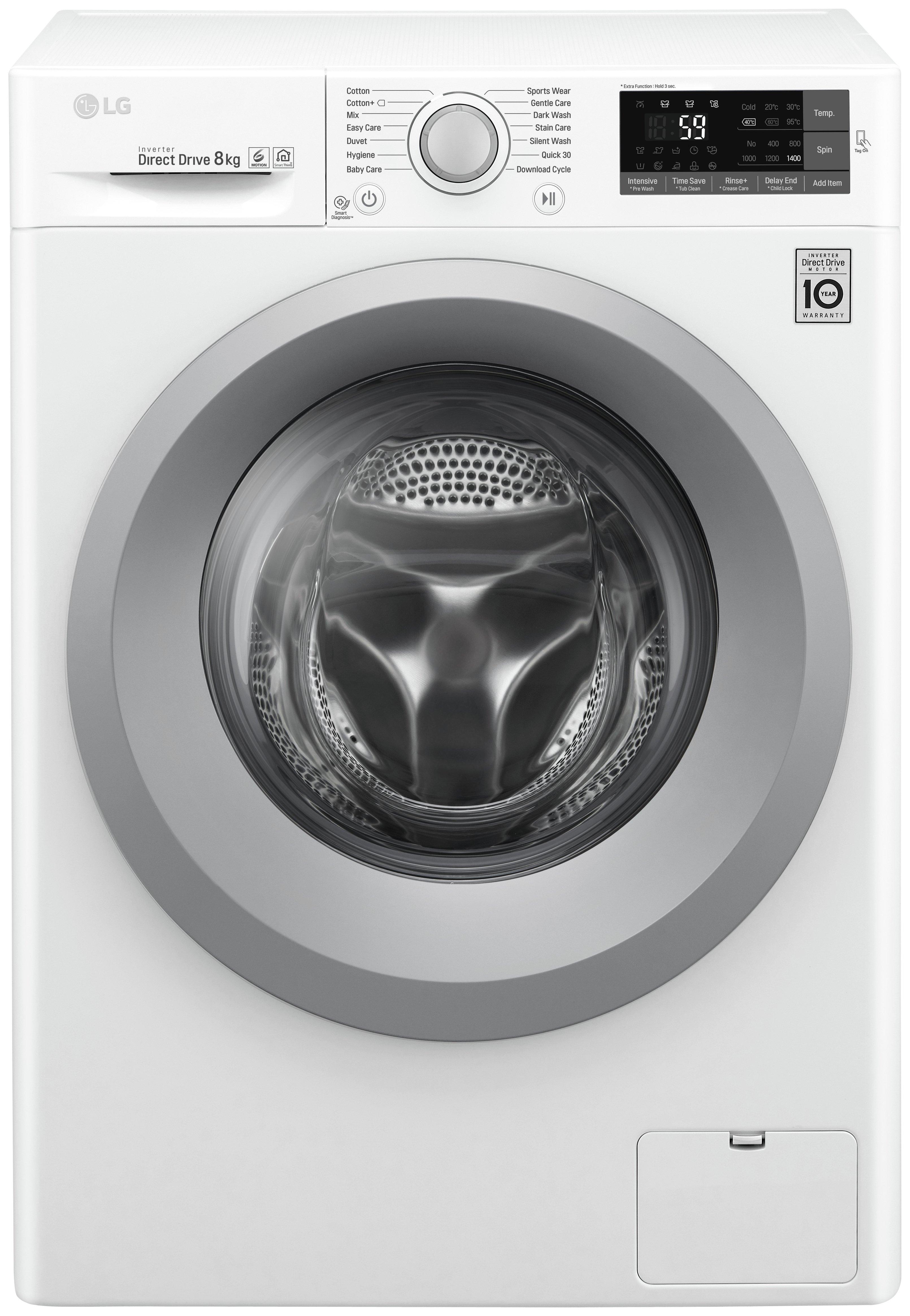 Image of LG F4J5TN4WW 8KG 1400 Spin Washing Machine - White - Del/Ins/Rec