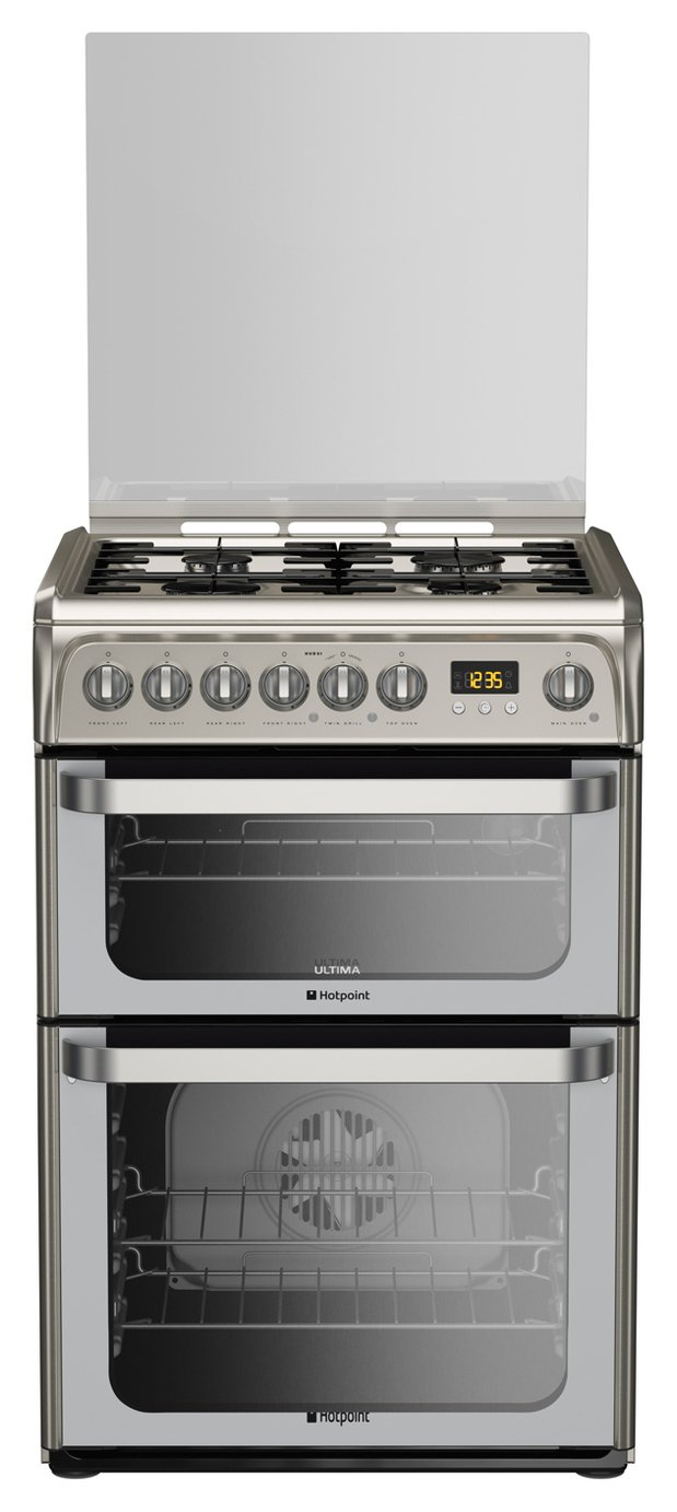 Hotpoint HUD61XS Double Dual Fuel Cooker - Stainless Steel