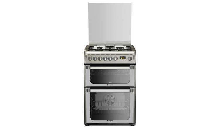 Hotpoint HUD61XS 60cm Double Oven Dual Fuel Cooker - S/Steel