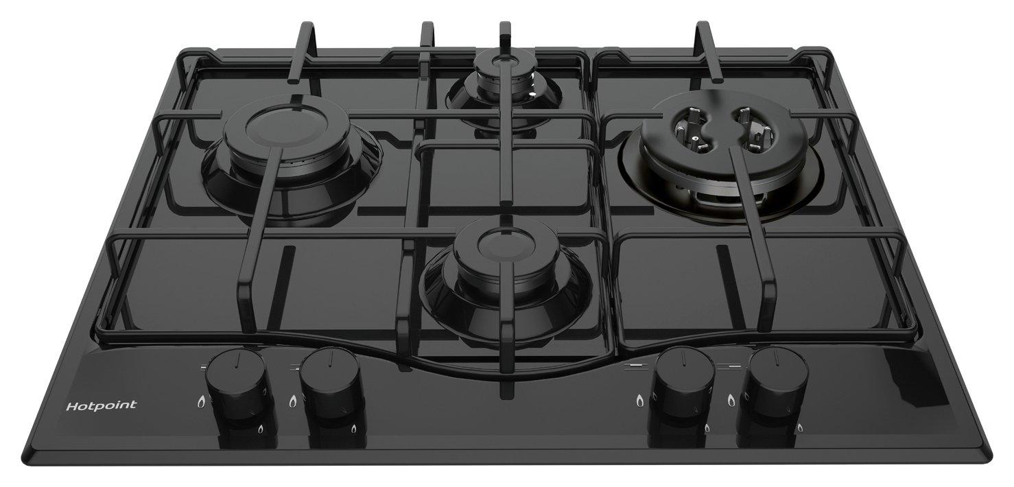 Hotpoint PCN642THBK Cast Iron Support Gas Hob - Black