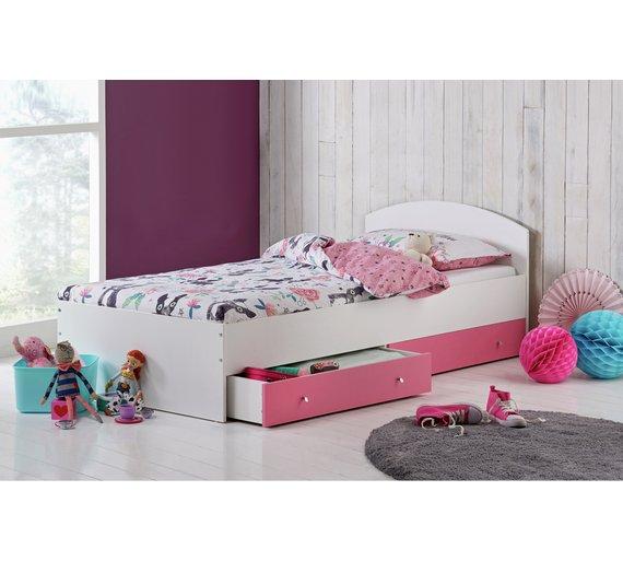 Buy Argos Home Malibu Single Bed Frame & 2 Drws - Pink on White ...