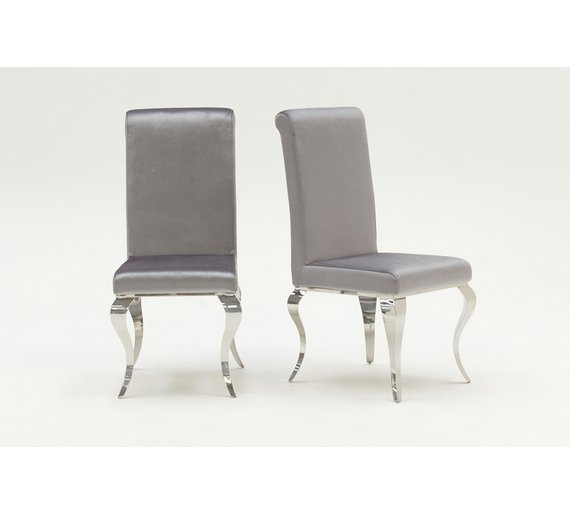 Furnoko Louis Pair Of Crushed Velvet Dining Chairs