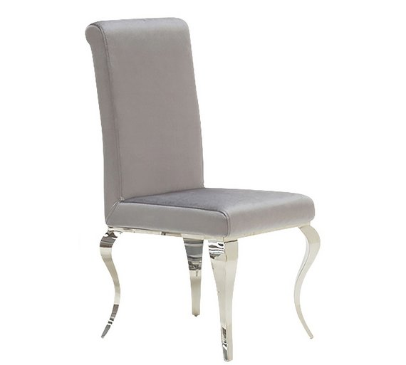 Buy Furnoko Louis Pair Of Crushed Velvet Dining Chairs Silver