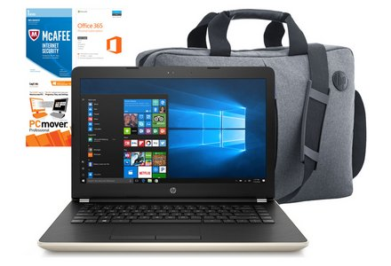 HP 14 Inch Intel Pentium 4GB 128GB SSD Laptop Bundle - Gold.