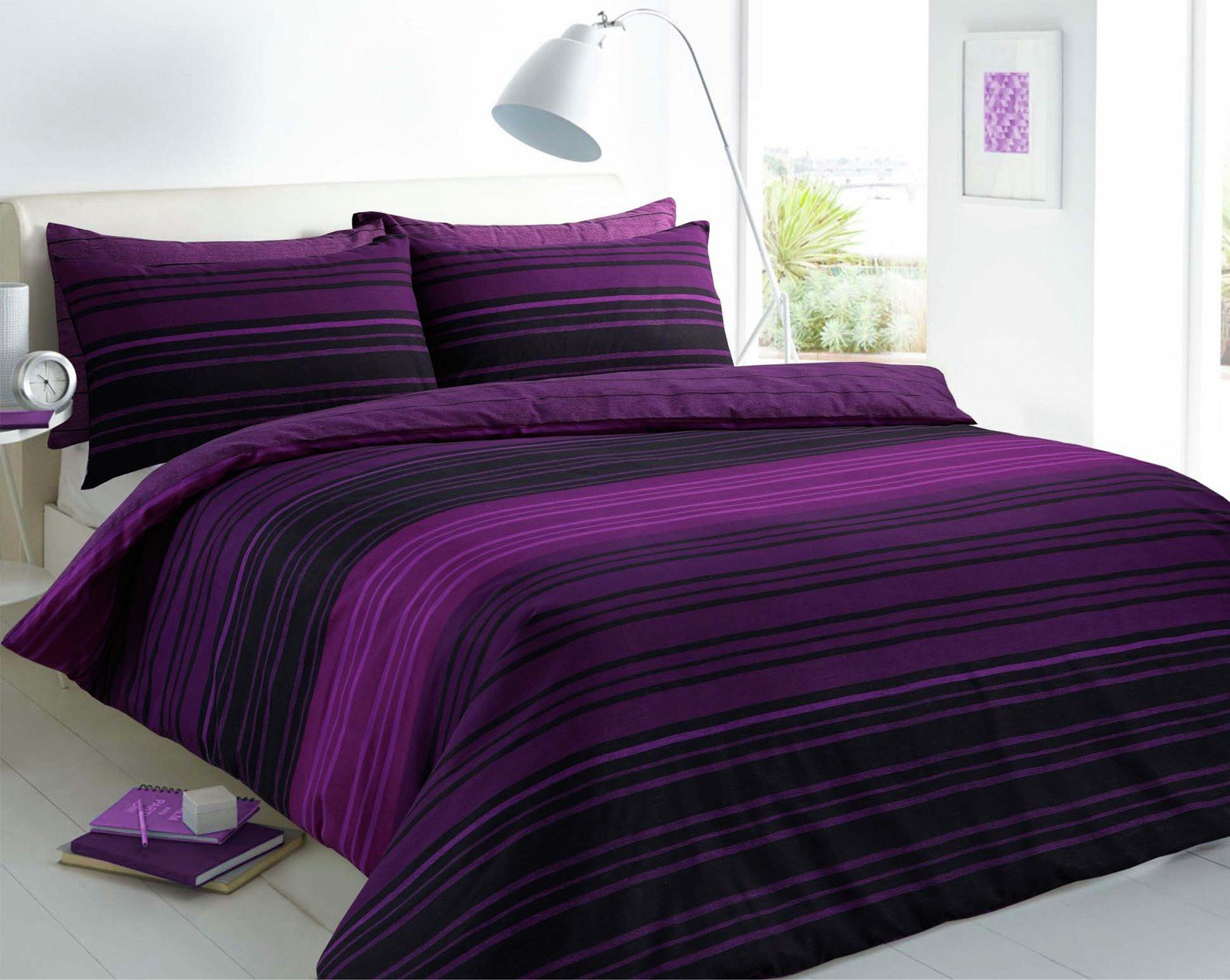 Pieridae Purple Textured Striped Bedding Set - Superking