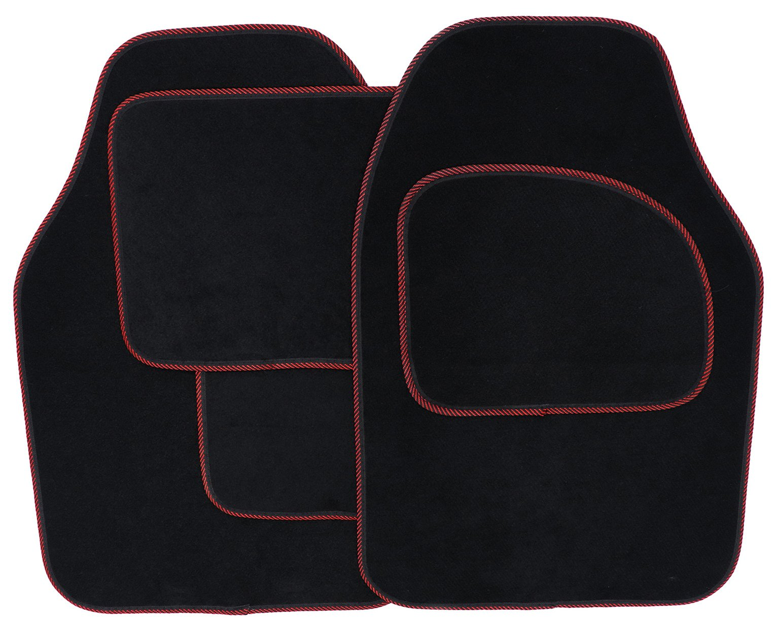 Set of 4 Car Mats - Black with Red Trim