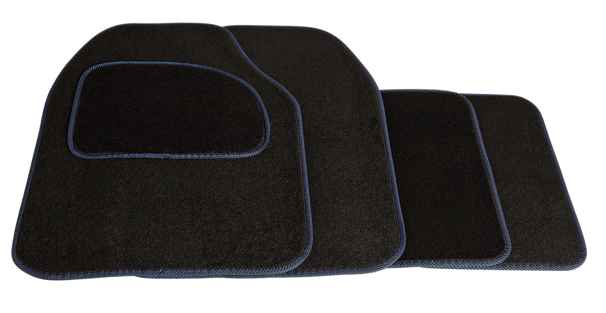 Image of Set of 4 Car Mats - Black with Blue Trim