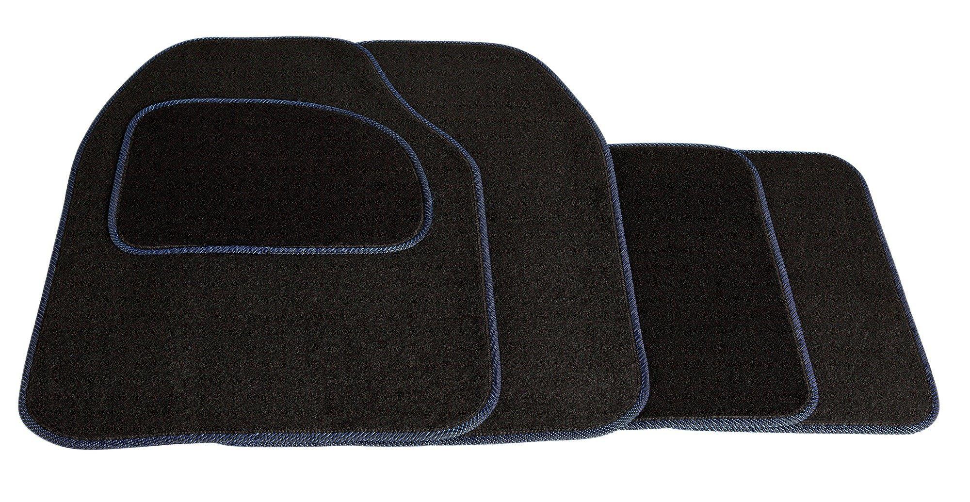 Streetwize Set of 4 Car Mats - Black with Blue Trim