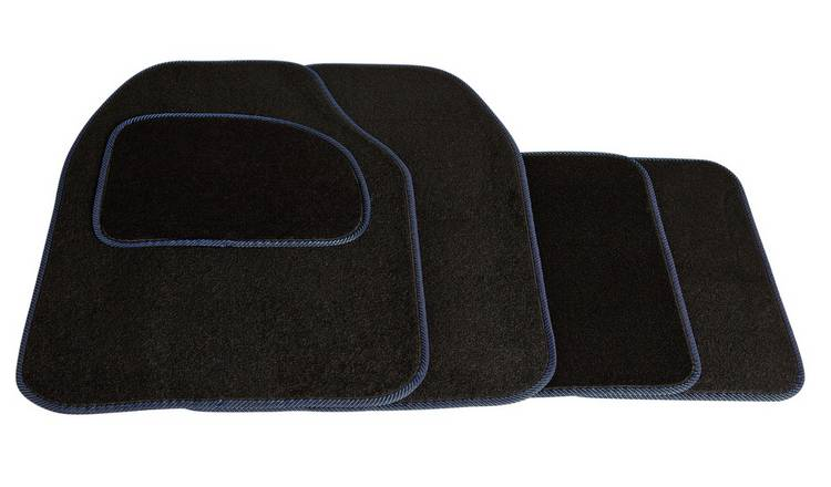 Streetwize Set of 4 Car Mats - Black with Blue Trim