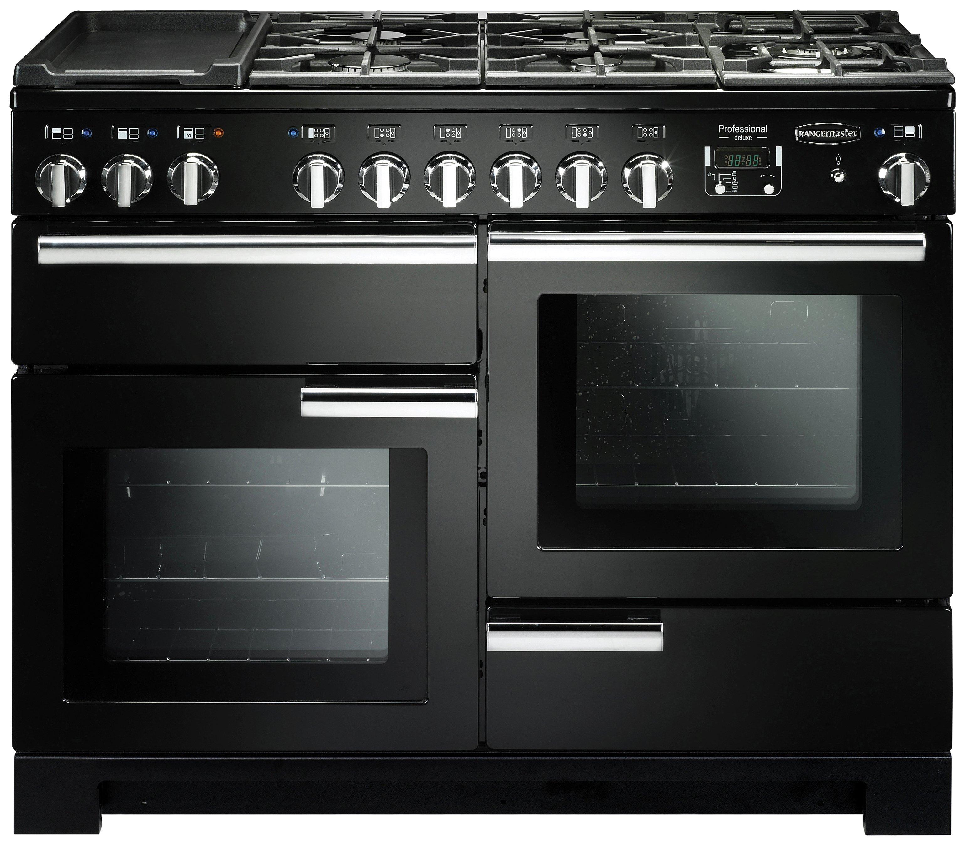 Rangemaster Professional Deluxe 110cm Dual Fuel Cooker-Black