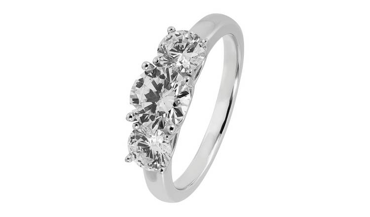Revere Sterling Silver 3 Stone Round Cubic Zirconia Ring - T