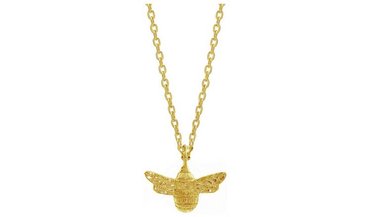 Amelia Grace Gold Plated Bee Charm Pendant Necklace