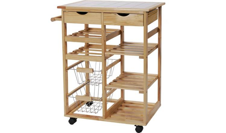 Argos Home Pine Tile Top Kitchen Trolley