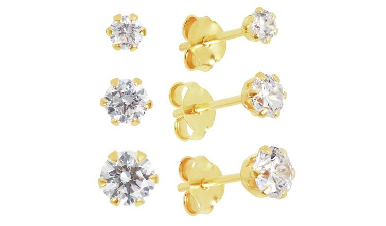Revere 9ct Gold Plated Sterling Silver Stud Earrings