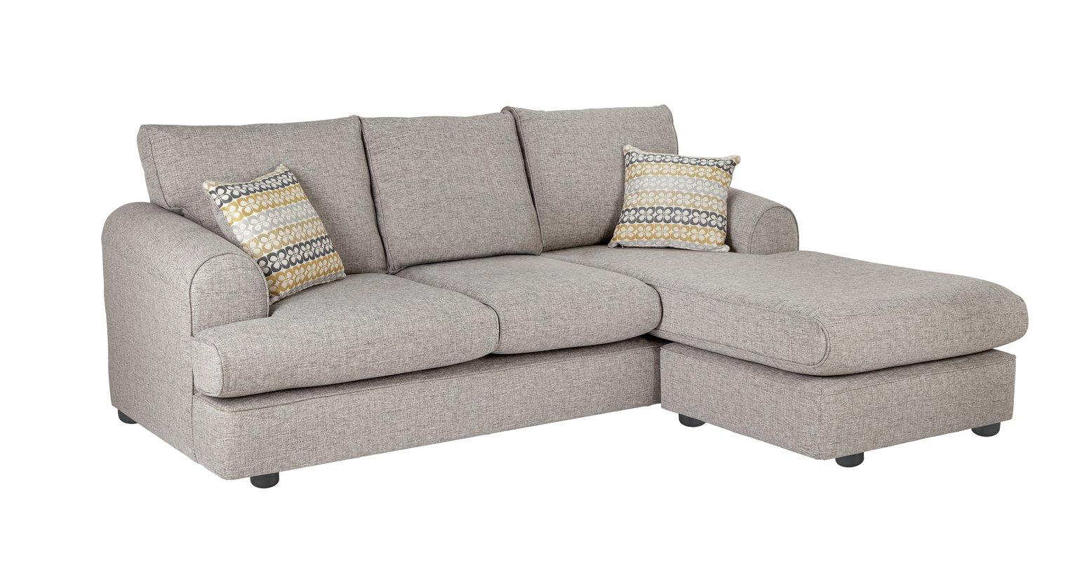 Argos Home Atticus Right Corner Fabric Chaise Sofa - Grey