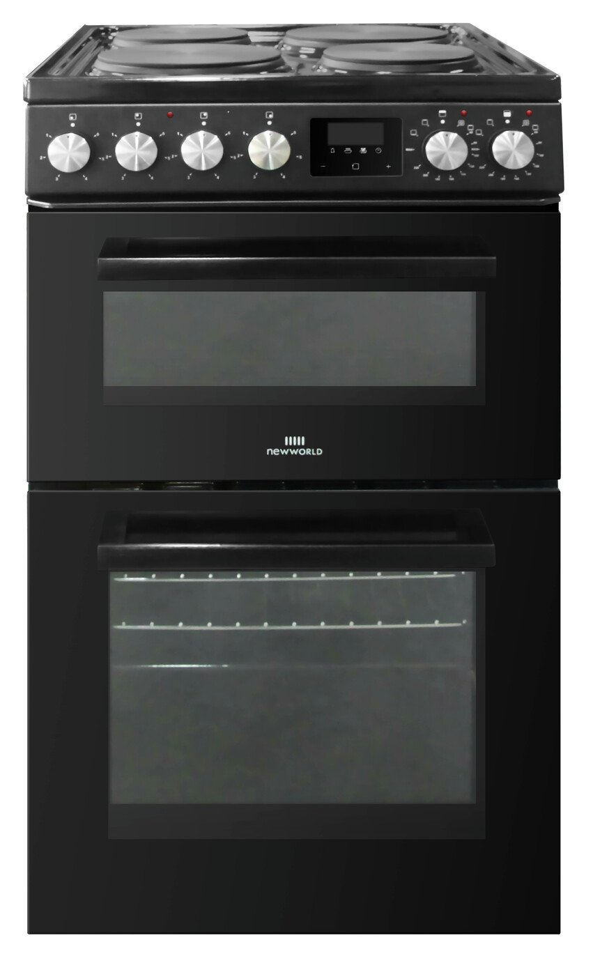 New World NWLS50DEB 50cm Double Oven Electric Cooker - Black