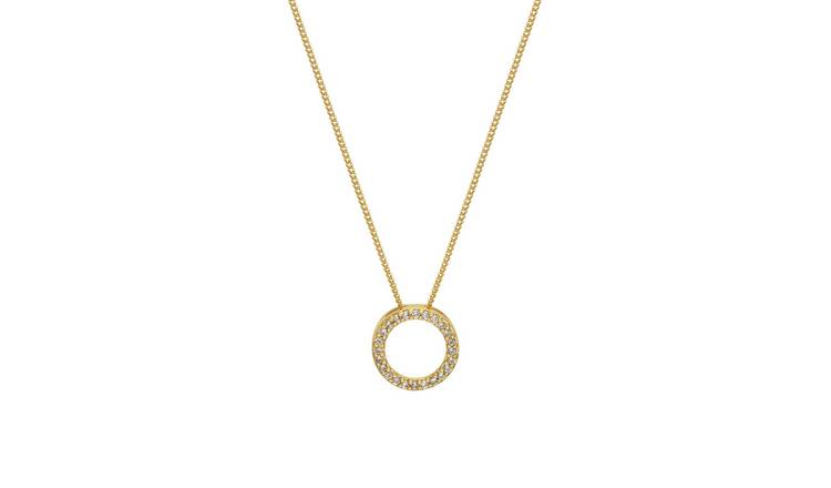 Amelia Grace Gold Plated Cubic Zirconia Circle Pendant
