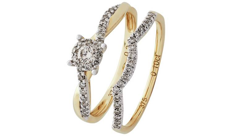 Revere 9ct Gold 0.35ct tw Diamond Bridal Ring Set - I