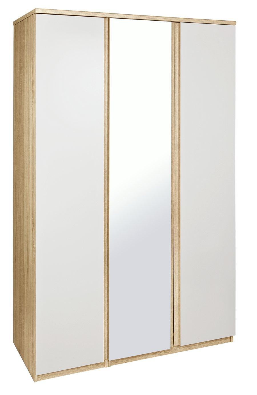 Image of Avenue 3 Door Mirrored Wardrobe - Oak Effect & White Gloss