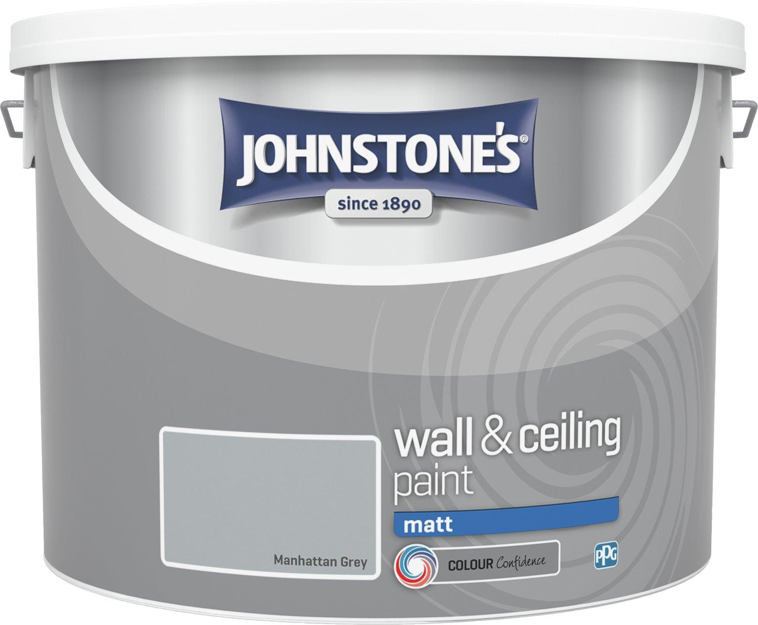 johnstone 39 s matt emulsion paint 10l manhattan grey. Black Bedroom Furniture Sets. Home Design Ideas