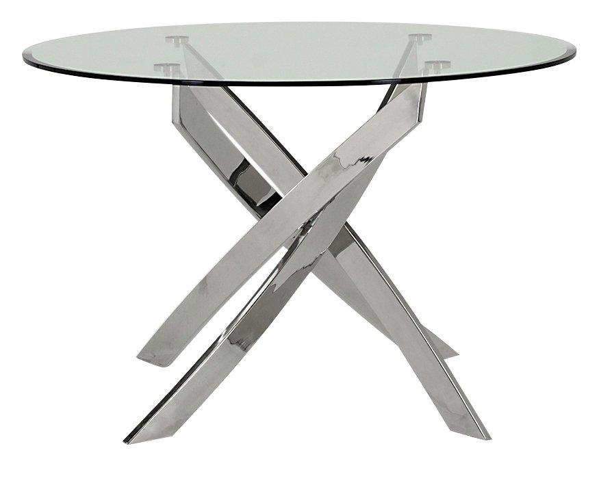 Furnoko Kalmar Round Glass 4 Seater Table - Clear