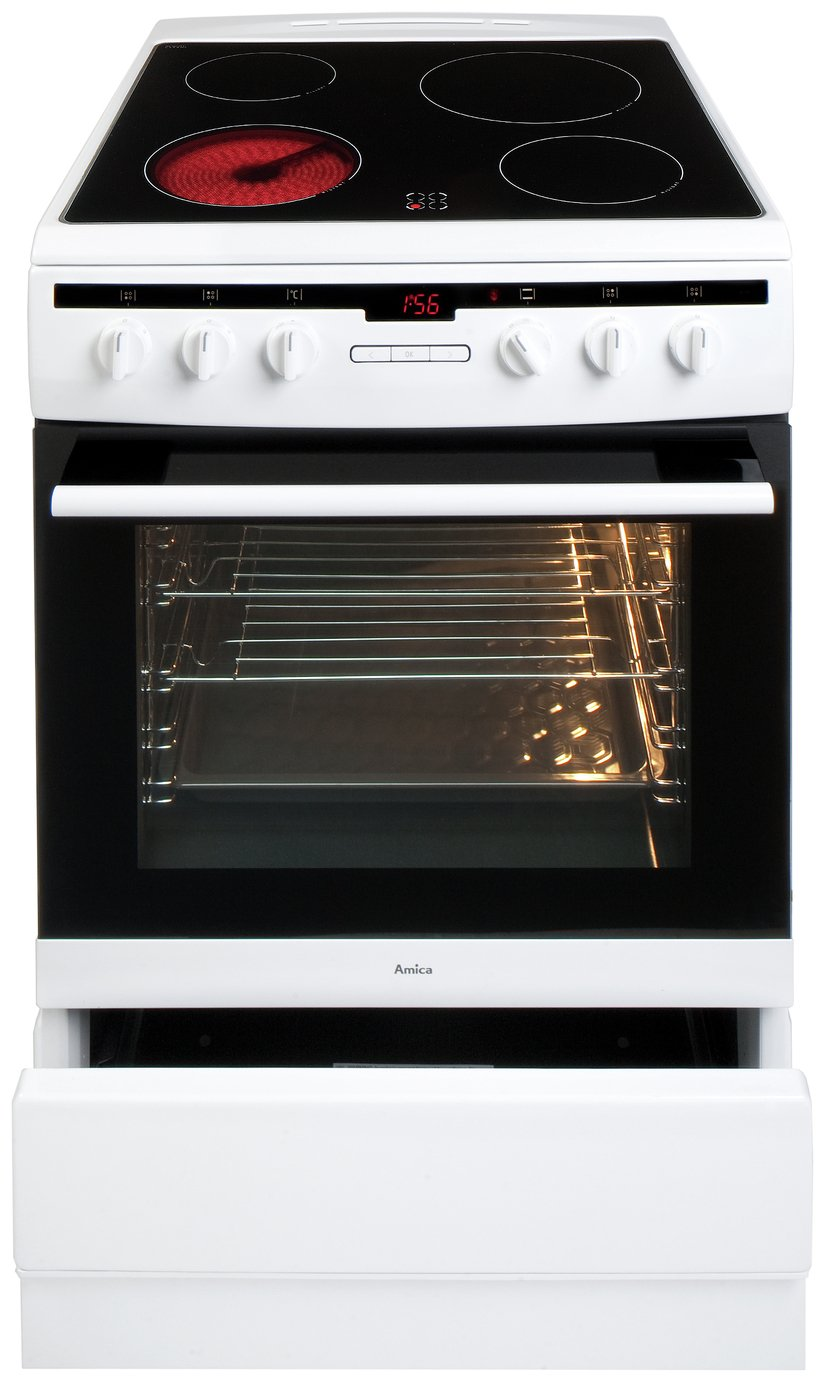 Image of Amica 608CE2TAW Single Electric Cooker - White.