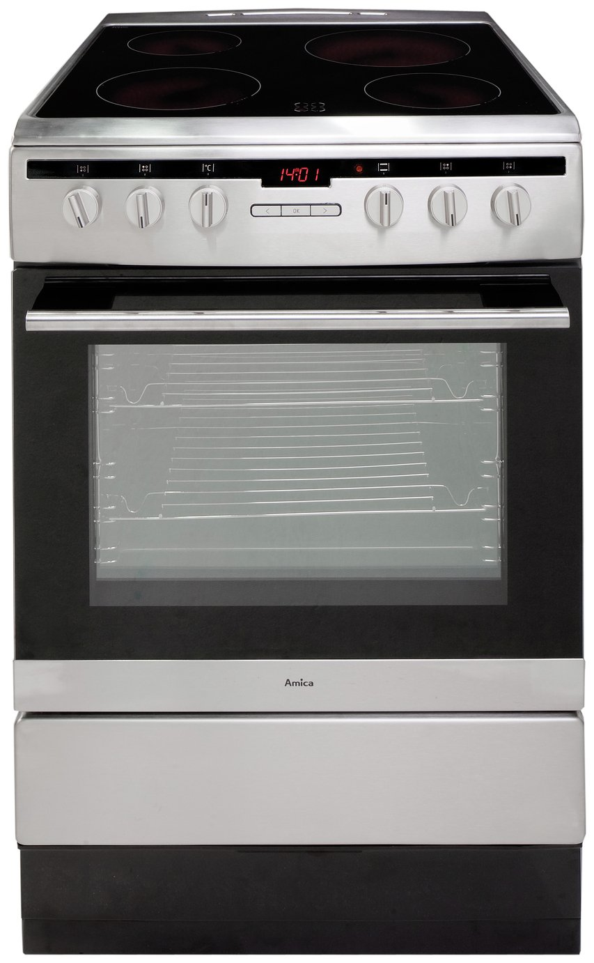 Image of Amica 608CE2TAXX Single Electric Cooker - Stainless Steel.