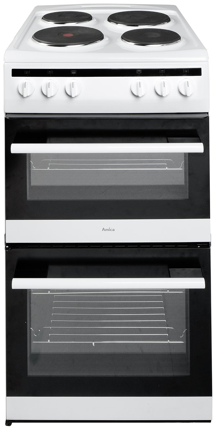 Image of Amica 508TEE1W Double Electric Cooker - White.
