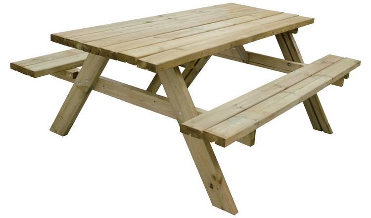 Buy Forest Garden Retangular 8 Person Picnic Table Garden Tables Argos