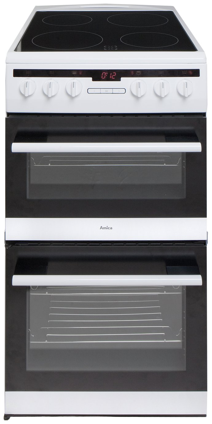 Image of Amica 508DCE2TAW Double Electric Cooker - White.