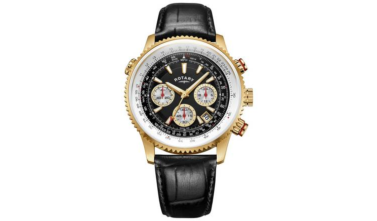 Rotary Men's Chronograph Black Leather Strap Watch
