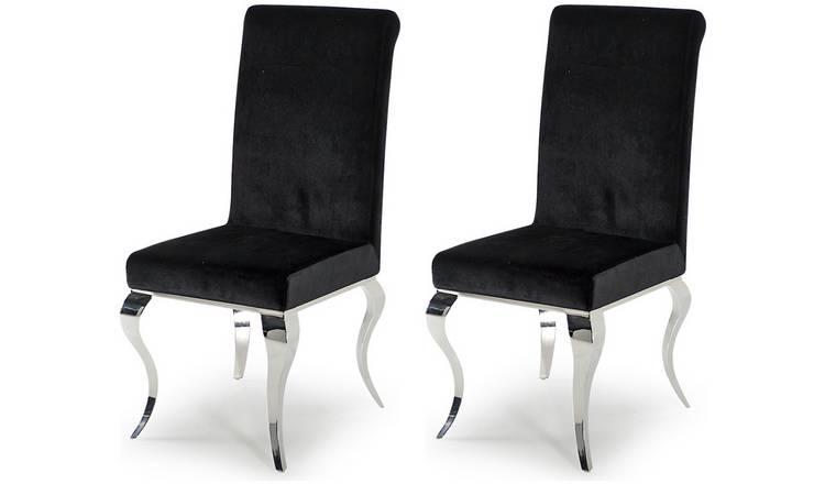 Buy Furnoko Louis Pair of Fabric Dining Chairs - Black | Dining chairs |  Argos