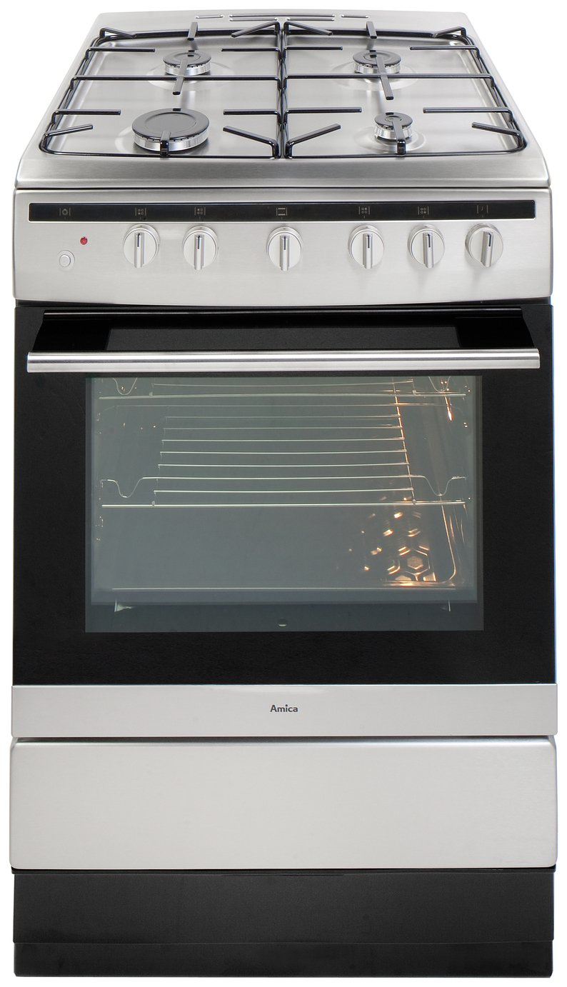 Image of Amica 608GG5MSXX Dual Fuel Cooker - Stainless Steel.