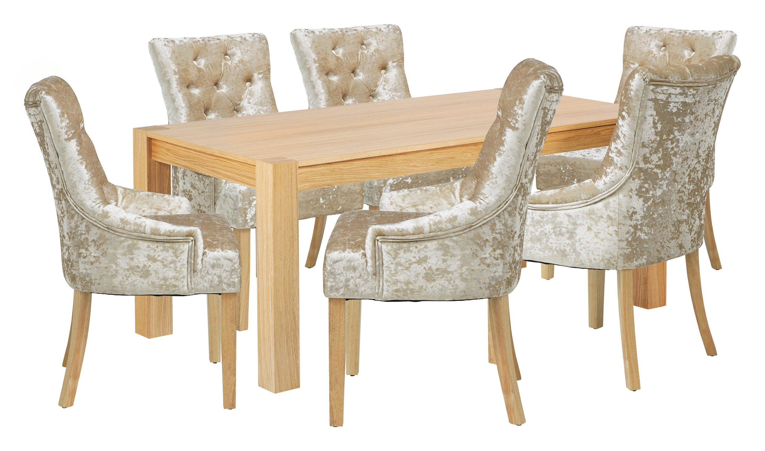 Image of Heart of House Halwick Oak Veneer Table & 6 Chairs - Champ