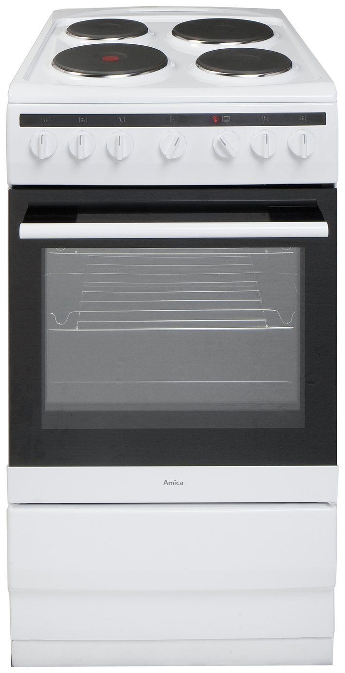 Image of Amica 508EE2MSW Single Electric Cooker - White.