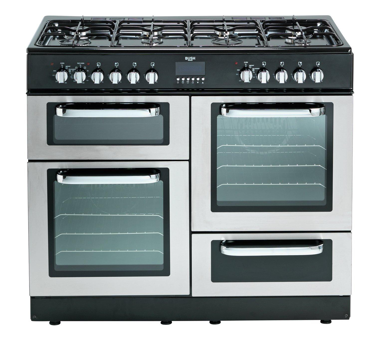 bush bclu100dfss dual fuel range cooker stainless steel