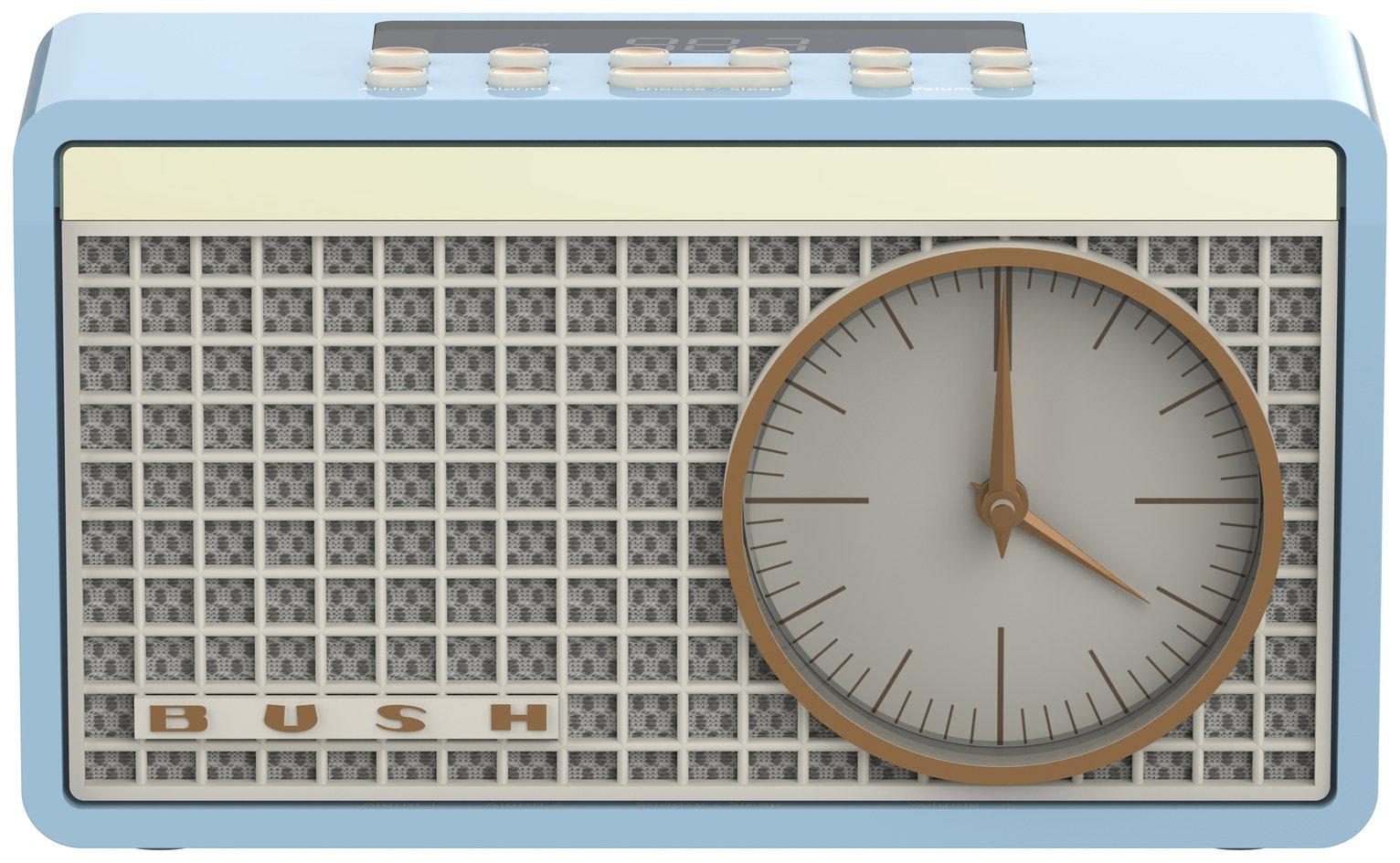 Bush Classic Retro Analogue Clock Radio - Duck Egg
