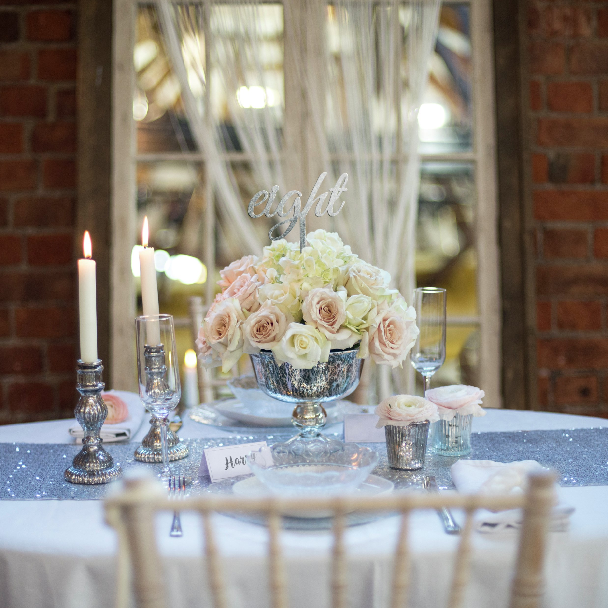 Image of Silver Glamour Luxury Wedding Table Centerpiece Set