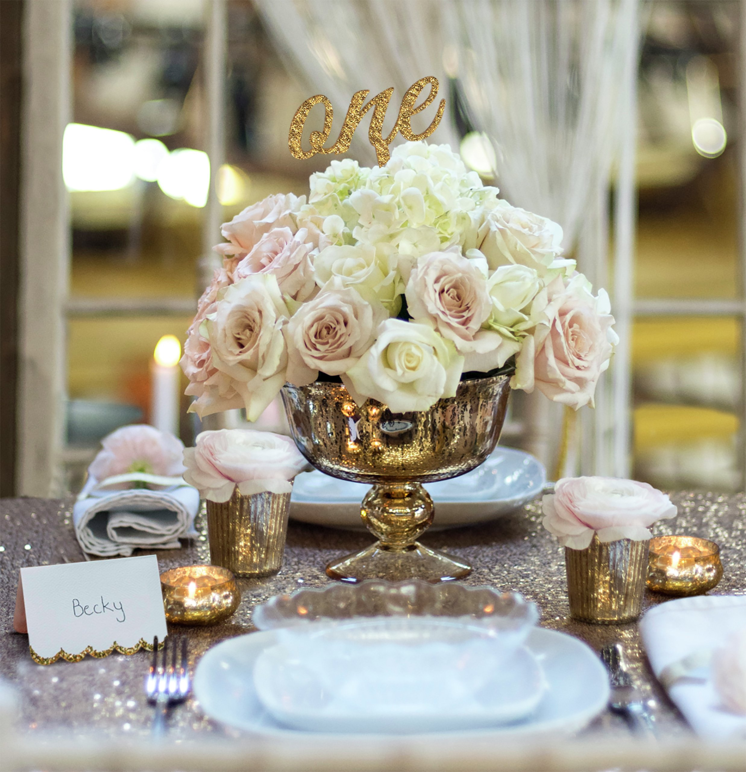 Image of Gold Glamour Luxury Wedding Table Centerpiece Set