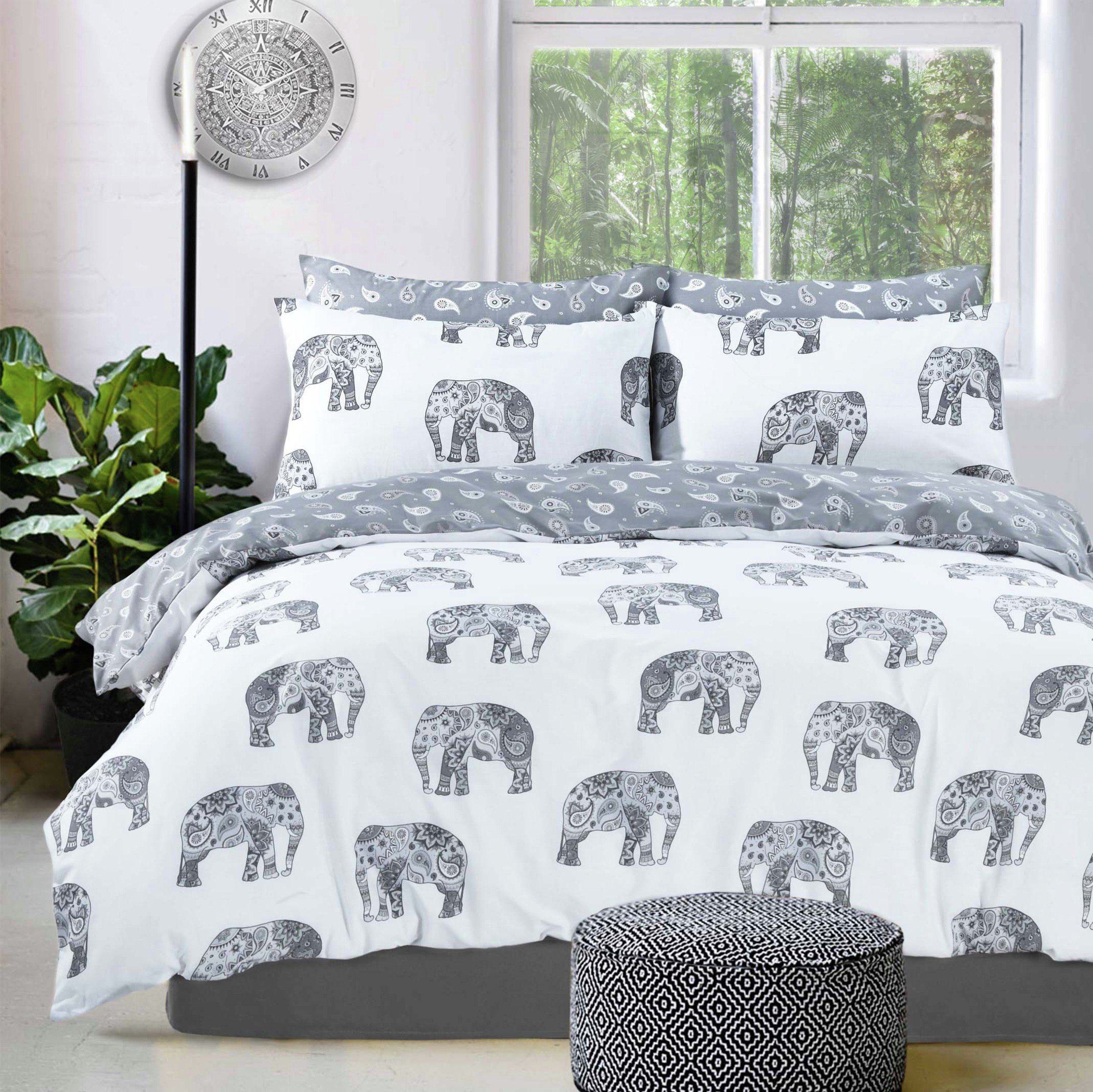 Pieridae Grey Elephant Bedding Set - Double
