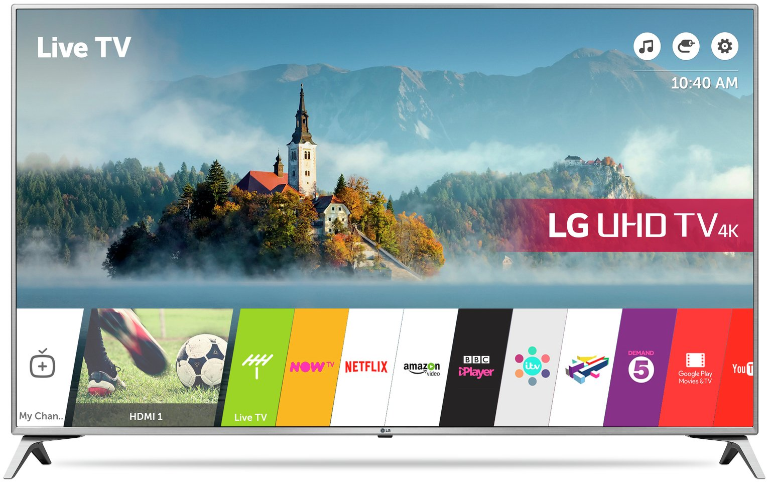 LG 60UJ651V 60 Inch Smart 4K Ultra HD TV with HDR.