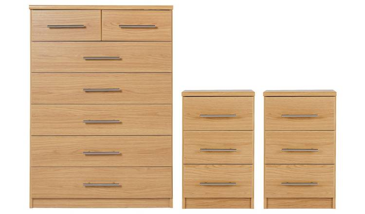 Argos Home Normandy 2 Bedsides & 5+2 Drawer Set - Oak Effect