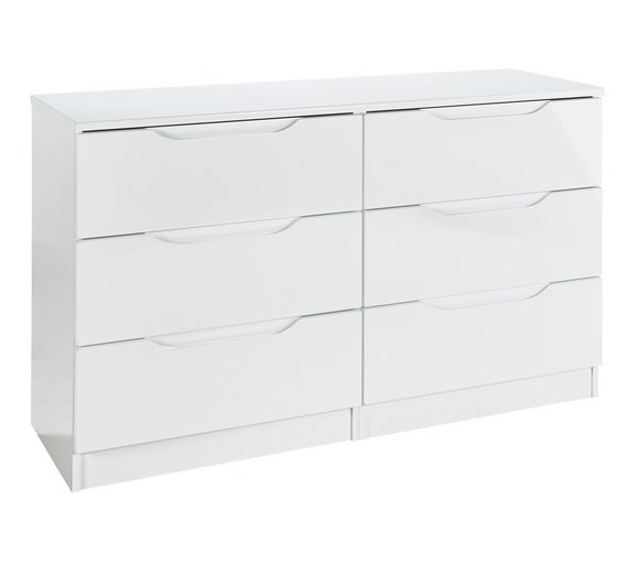 buy legato 3 3 drawer chest white gloss chest of drawers argos