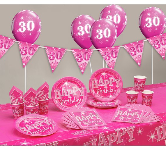 buy pink sparkle 30th birthday party pack at