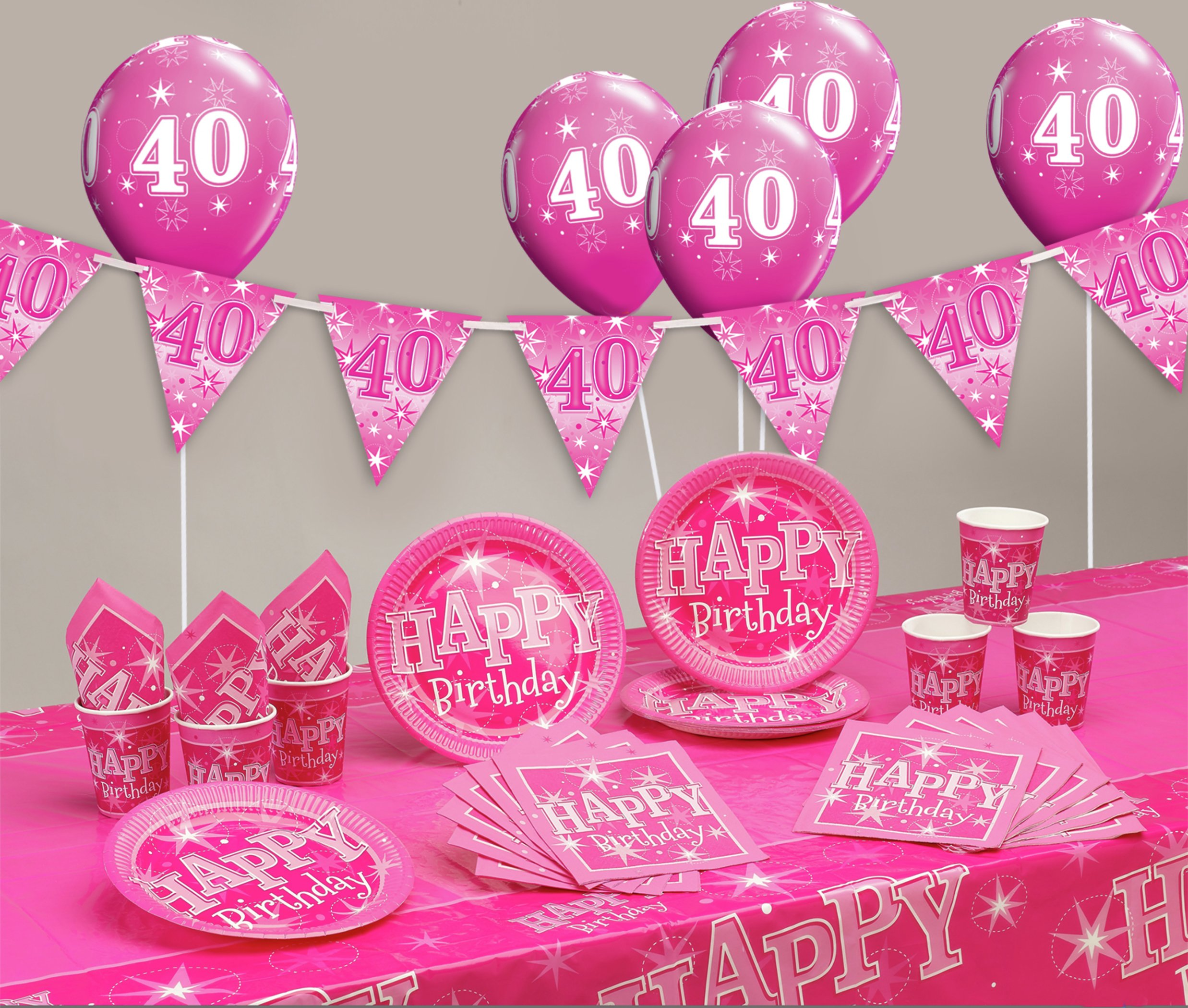 Pink Sparkle 40th Birthday Party Pack 7431373