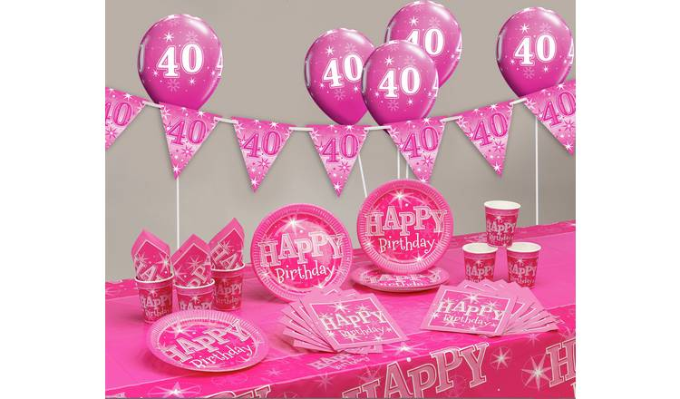 Pink Sparkle 40th Birthday Party Pack