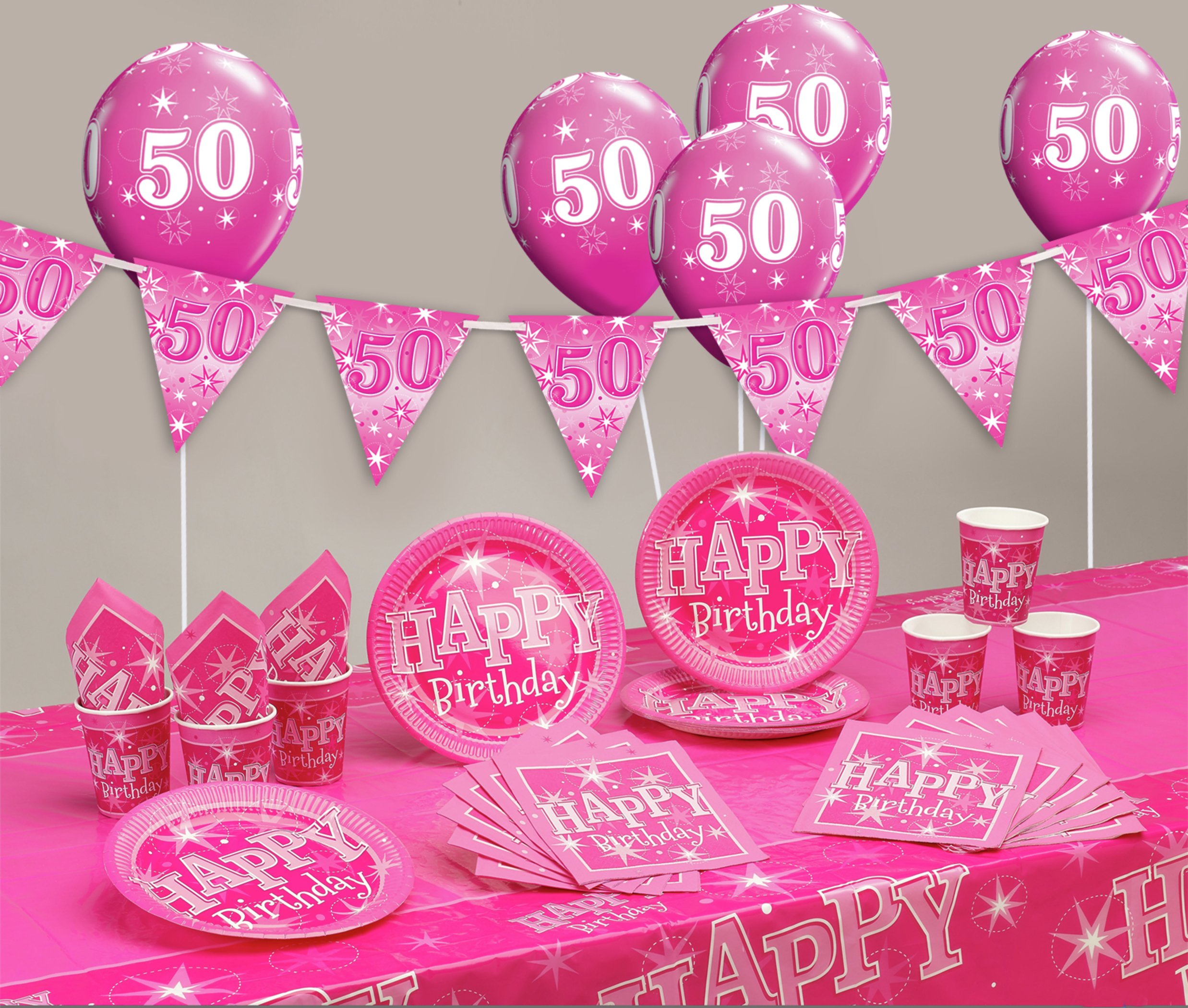 Pink Sparkle 50th Birthday Party Pack 7431452