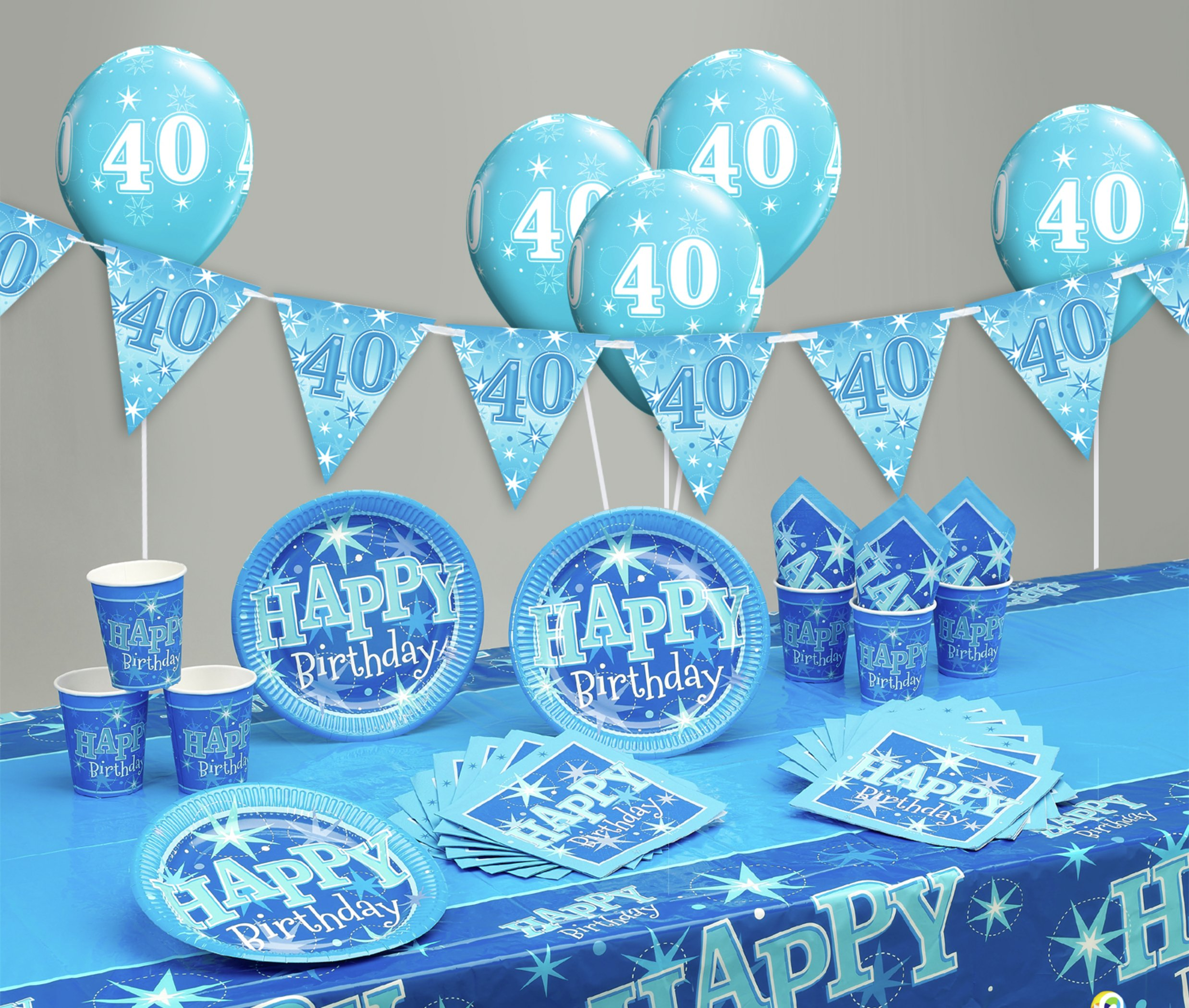Blue Sparkle 40th Birthday Party Pack 7431562