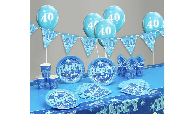Blue Sparkle 40th Birthday Party Pack
