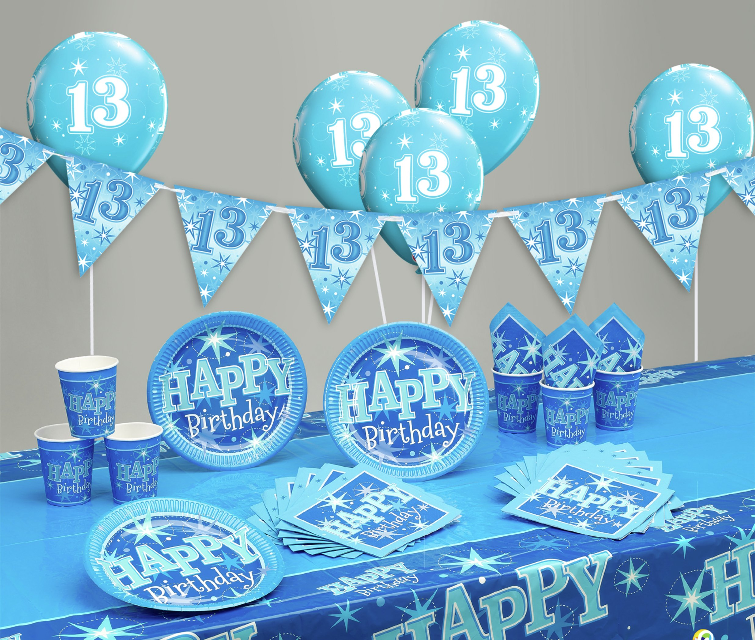 Image of Blue Sparkle 13th Birthday Party Pack